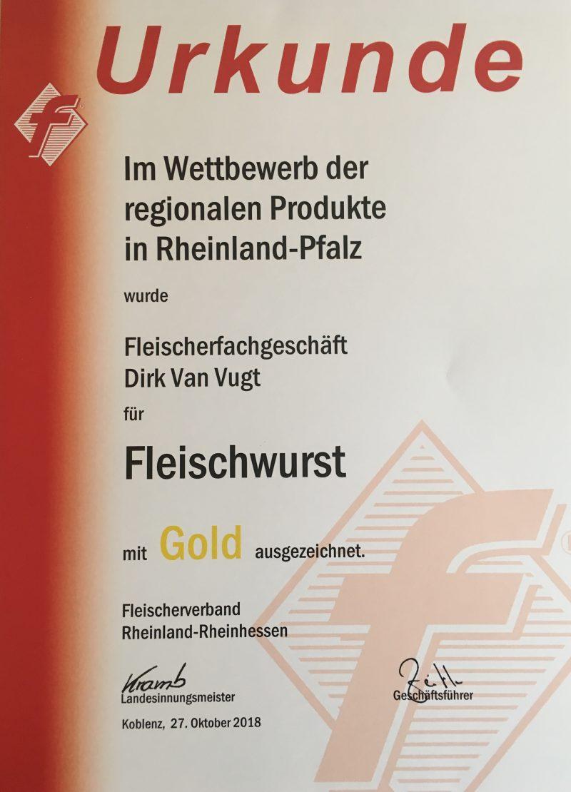 Fleischwurst Gold-Medaille 2018