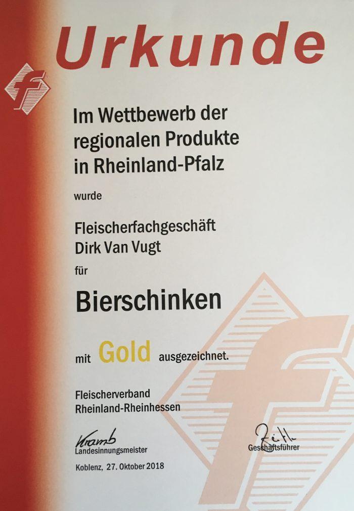 Bierschinken Gold-Medaille 2018