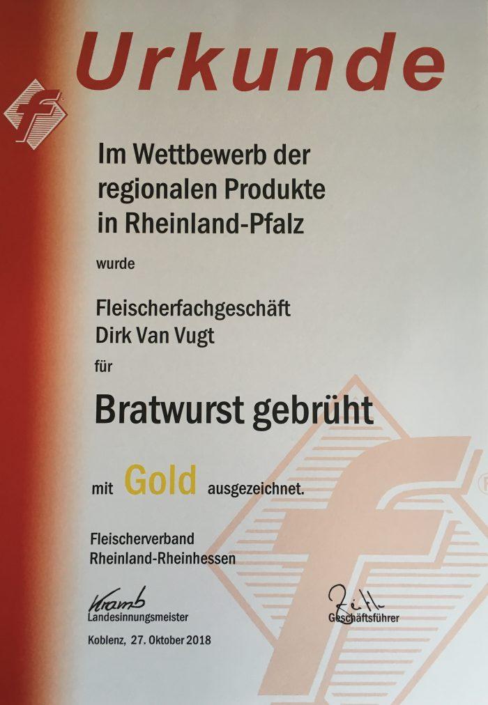 Bratwurst gebrüht Gold-Medaille 2018